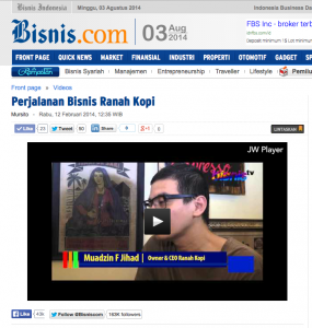 Video Ranah Kopi di Bisnis Indonesia TV